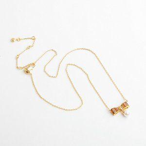 Henri Bendel Diamond Bow Pearl Pendant Necklace